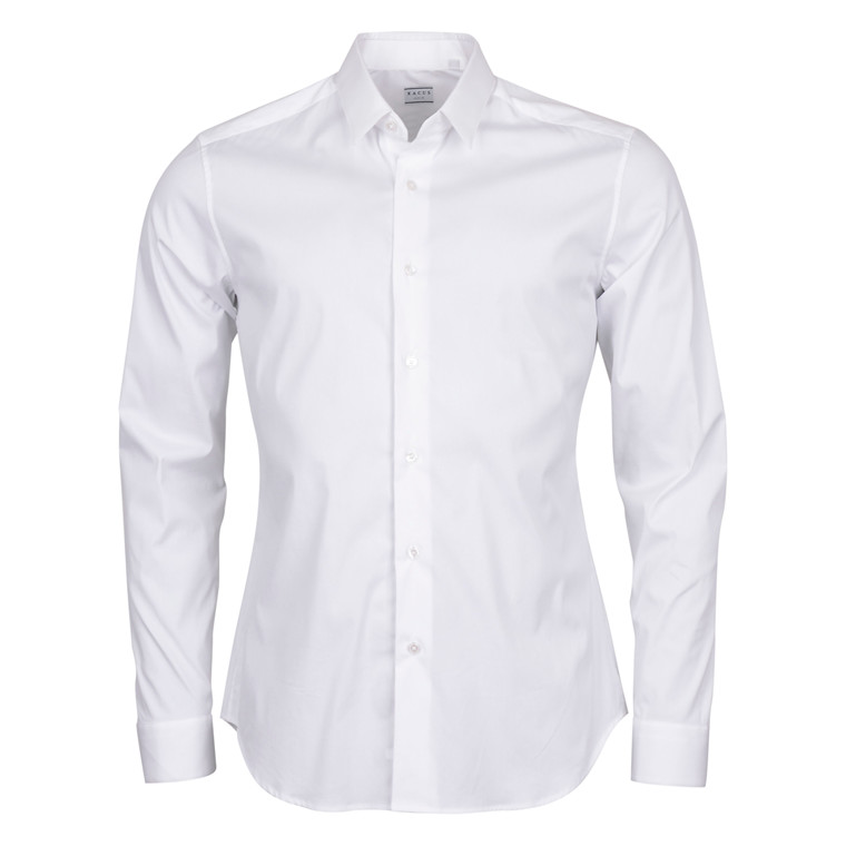 XACUS SHIRTS WHITE BASIC STRETCH SHIRT