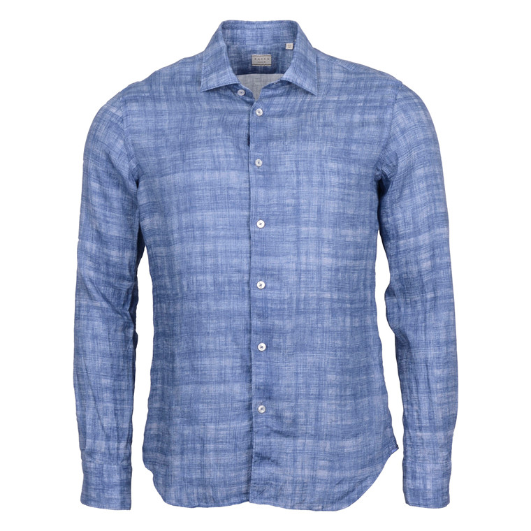 XACUS SHIRTS LINEN WASHED BLUE SHIRT