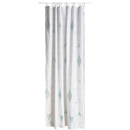ZONE Harlequin badeforhæng 180 x 200 cm støvgrøn/hvid