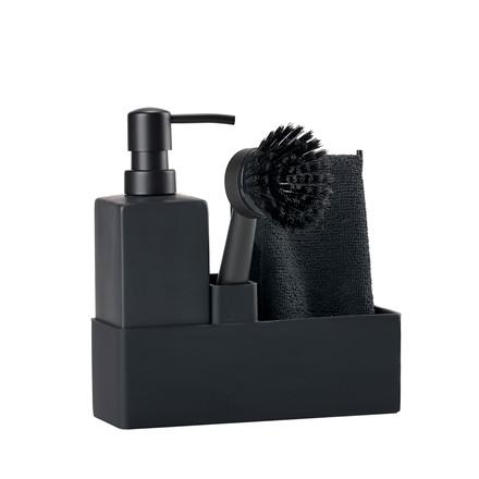 ZONE Opvaskesæt sort m. microfiber karklud