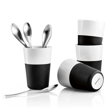 EVA SOLO Cafe Latte sæt krus med skeer 8 dele sort