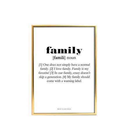 Men's Lounge Plakat - Family Definition A4