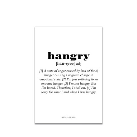MEN'S LOUNGE Plakat - Hangry Definition A4