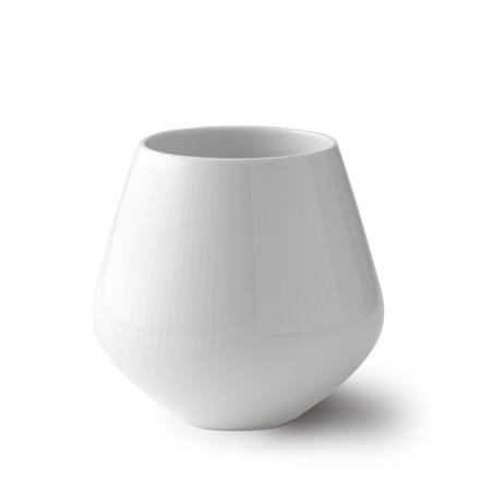 ROYAL COPENHAGEN Hvid Riflet vase mellem