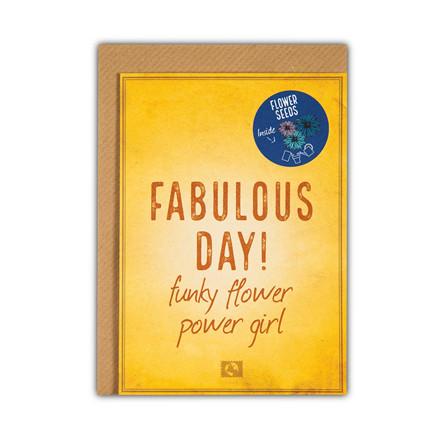 Message Earth Grow Magic Fabulous Day lykønskningskort med blomsterfrø