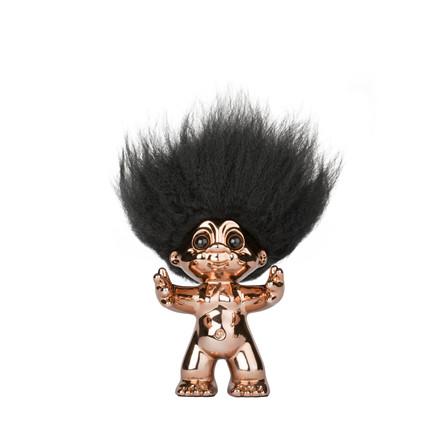 Lykketrold bronze/sort hår 9 cm