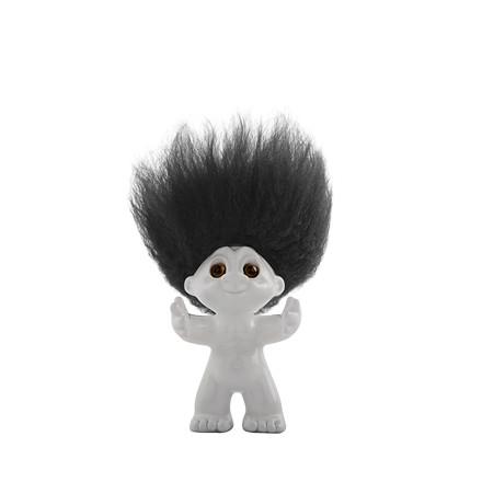 LYKKETROLD Lysgrå/sort hår 9 cm