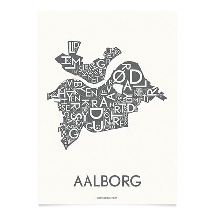 Kortkartellet Aalborg 50 X 70 cm koksgrå