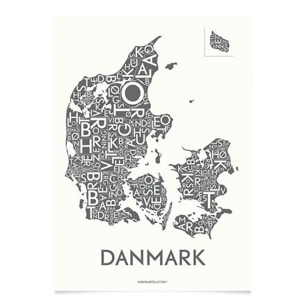 Kortkartellet Danmark 50 X 70 cm koksgrå
