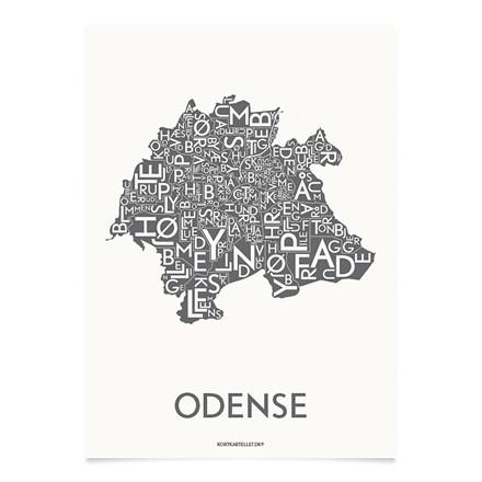 KORTKARTELLET Odense 50 X 70 cm koksgrå
