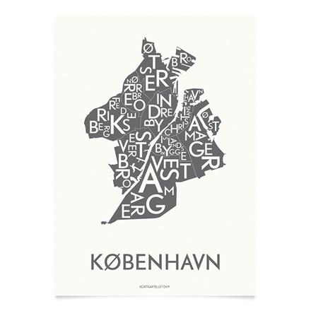 KORTKARTELLET København 14,8 x 21 cm koksgrå