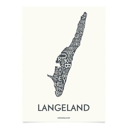Kortkartellet Langeland 14,8 X 21 cm koksgrå
