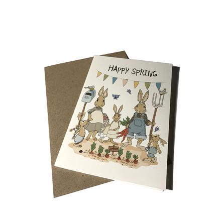 "MOUSE AND PEN ILLUSTRATION ""Happy Spring"" kort inkl. kuvert"