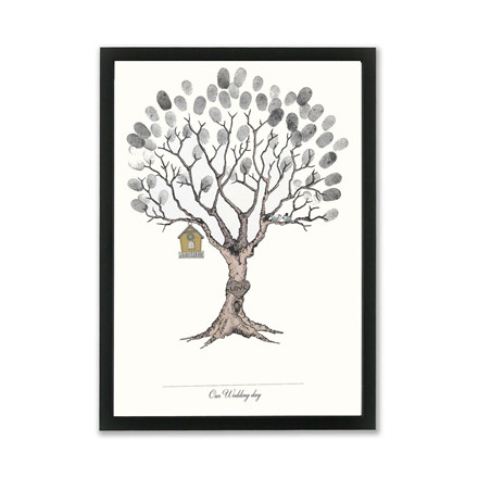 "MOUSE AND PEN ILLUSTRATION ""Wedding tree black"" A3"