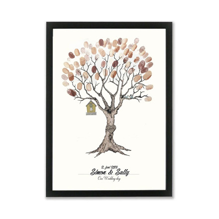 "MOUSE AND PEN ILLUSTRATION ""Wedding tree brown"" A3"