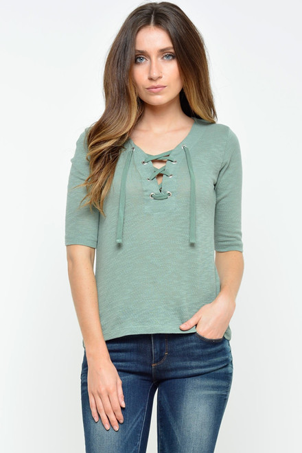 ONLY Freja Lace Up Top grøn