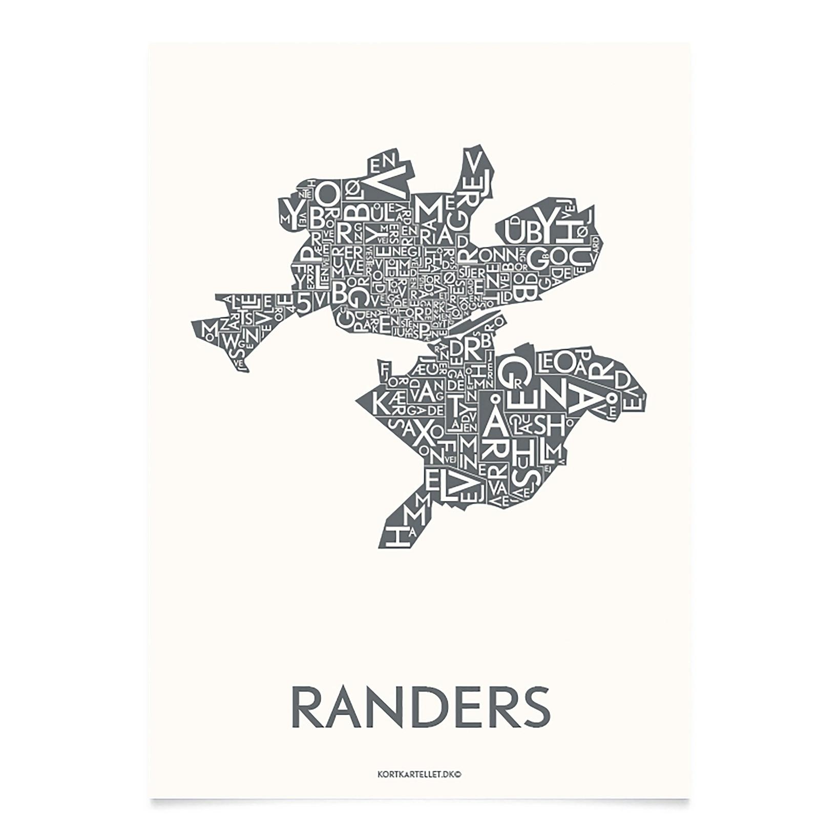KORTKARTELLET Randers 50 X 70 cm koksgrå