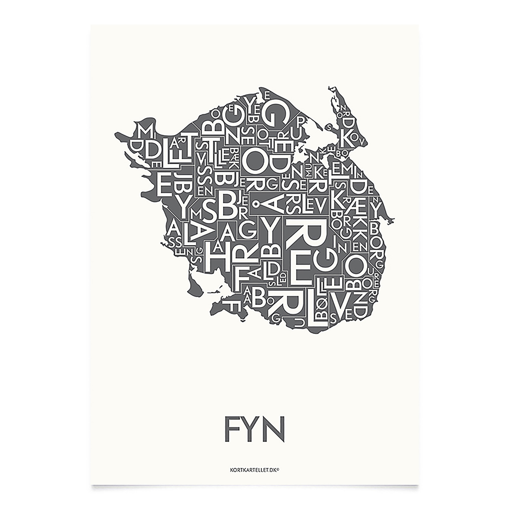 KORTKARTELLET Fyn 14,8 X 21 cm koksgrå