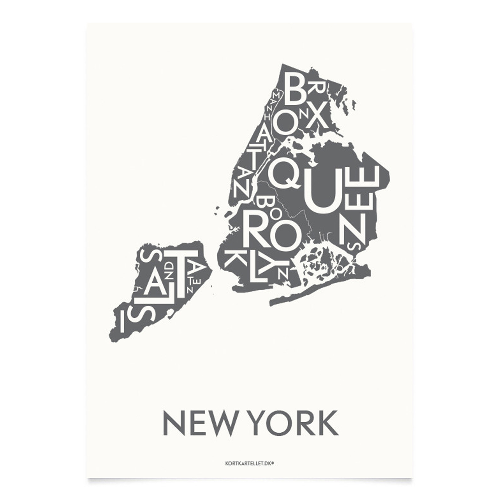 KORTKARTELLET New York City 14,8 x 21 cm koksgrå