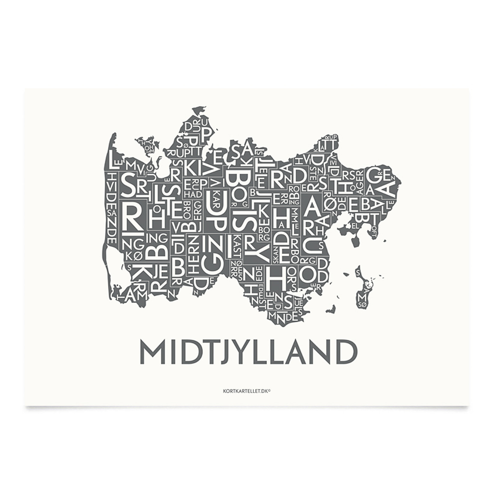 KORTKARTELLET Midtjylland 14,8 X 21 cm koksgrå