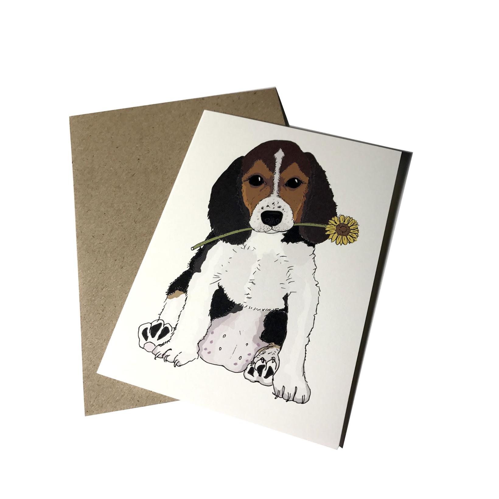 "MOUSE AND PEN ILLUSTRATION ""Dog with flower"" kort inkl. kuvert"