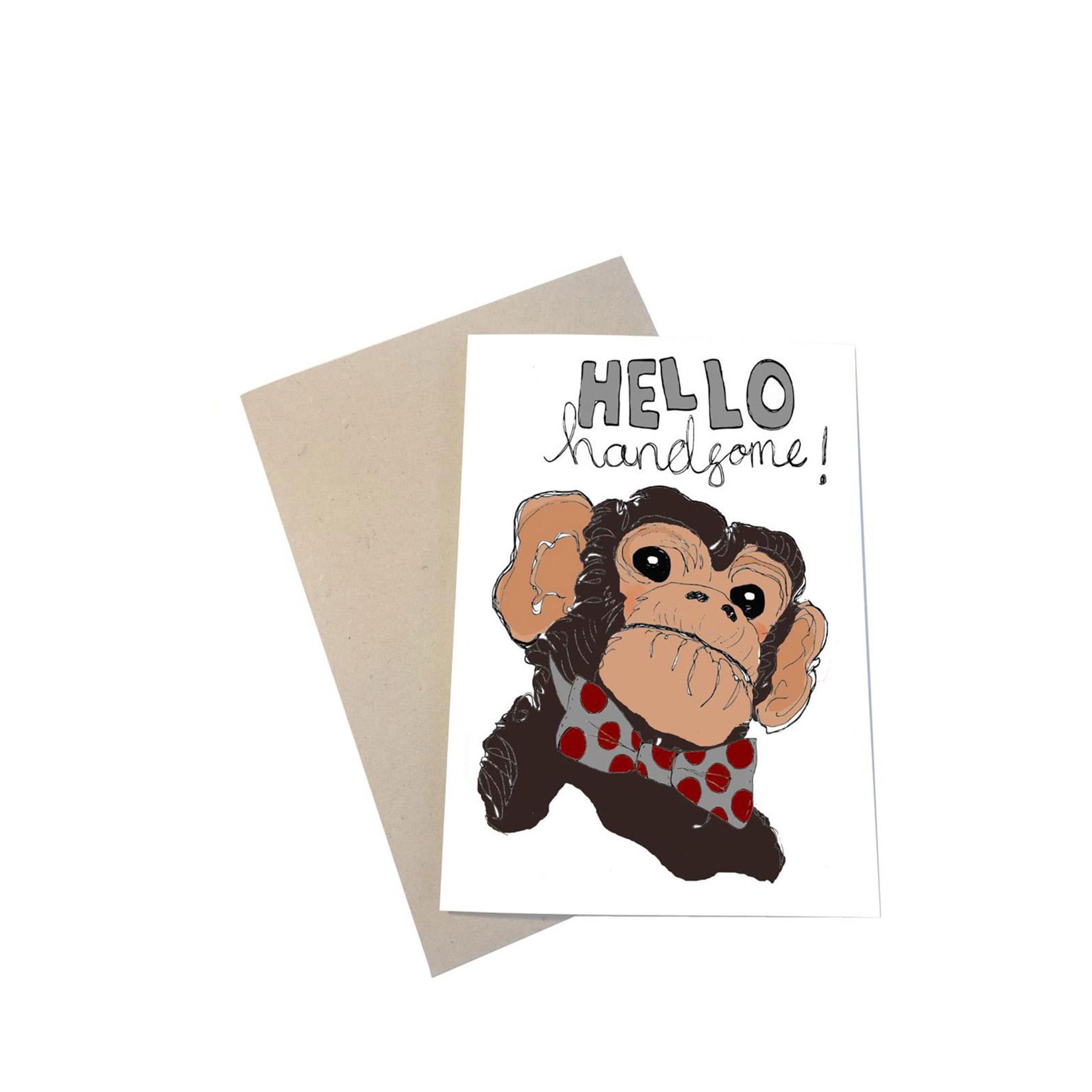 "MOUSE AND PEN ILLUSTRATION ""Hello handsome"" kort inkl. kuvert"