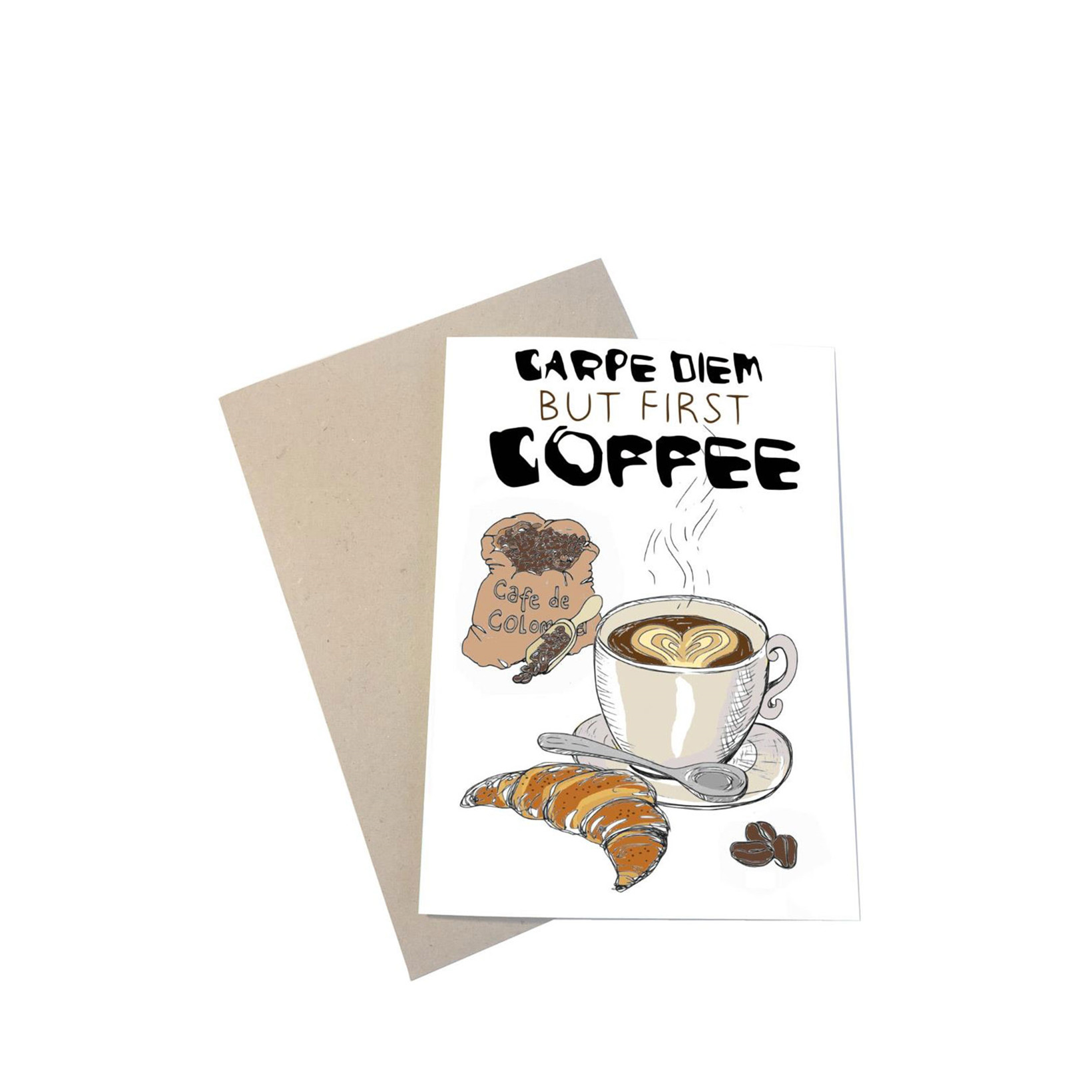 "MOUSE AND PEN ILLUSTRATION ""Coffee"" kort inkl. kuvert"