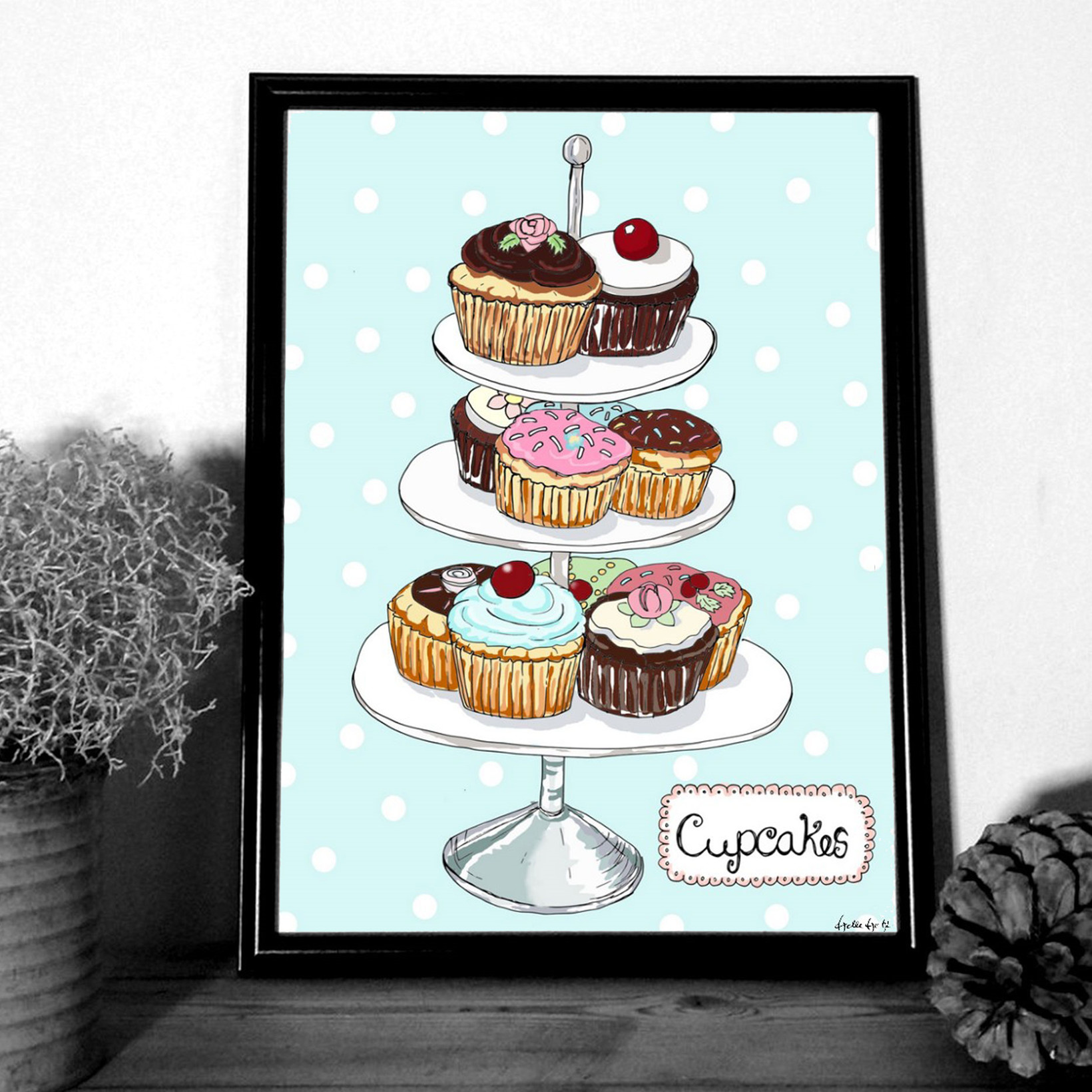 """MOUSE AND PEN ILLUSTRATION """"Cupcakes"""" A4"""