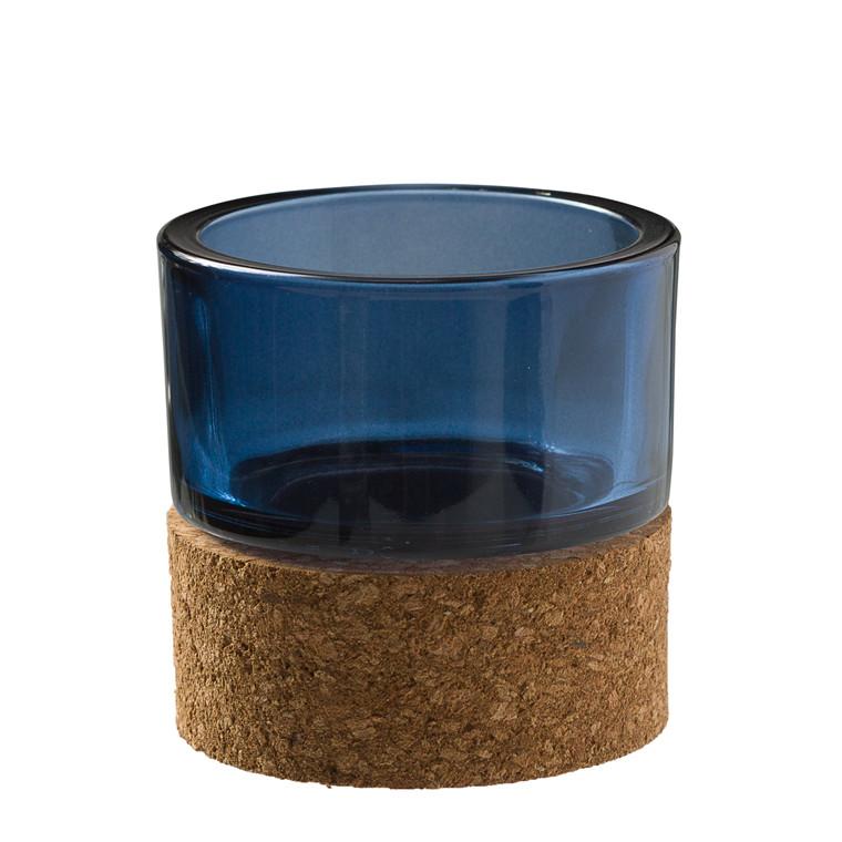 OPENMIND Fyrfadsstage i kork og glas