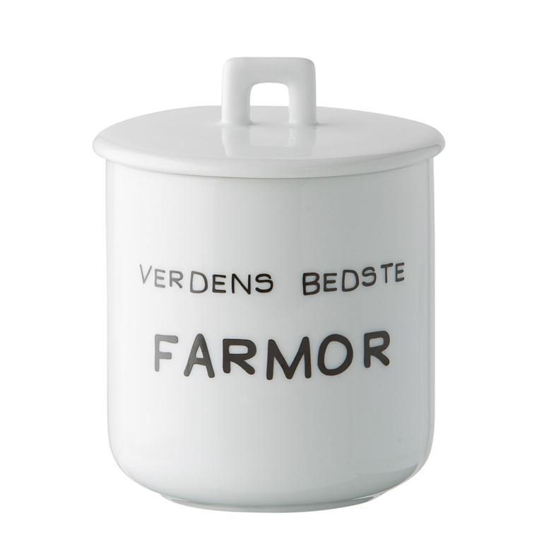 OPENMIND Krus m. porcelænslåg - Verdens bedste farmor