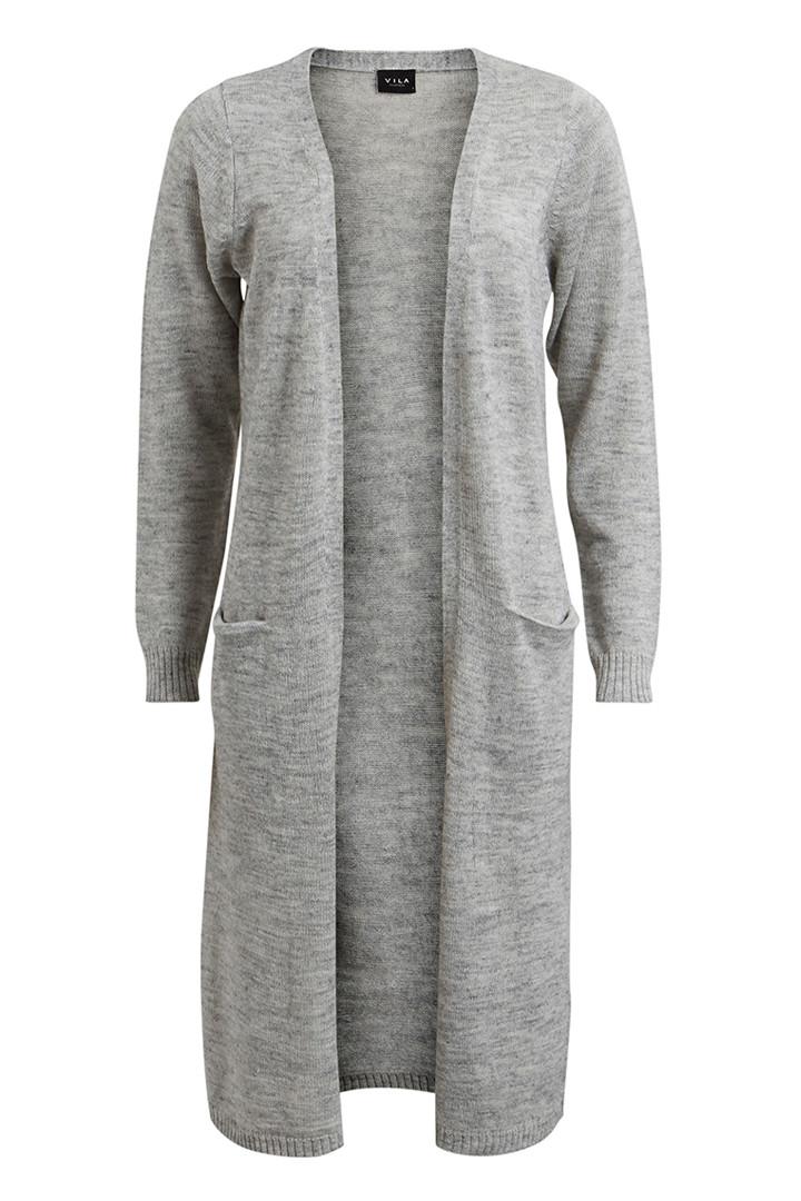 VILA Riva long cardigan lysgrå