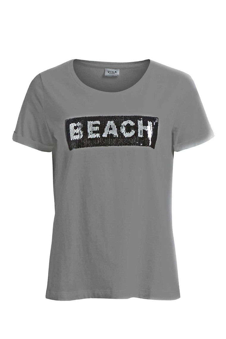 VILA Vimercy Sequins t-shirt lysgrå