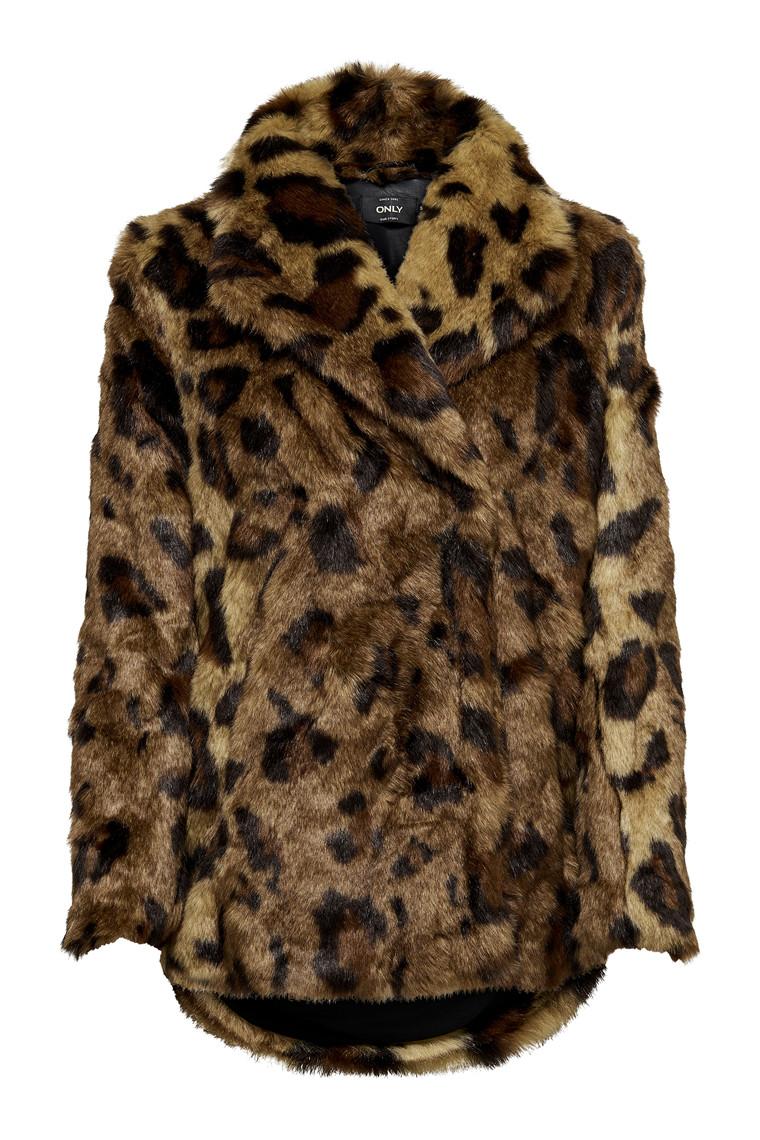 ONLY Juliane fake fur leopard coat