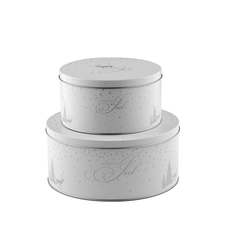 BLOMSTERBERG Kagedåsesæt 2stk hvid/sølv