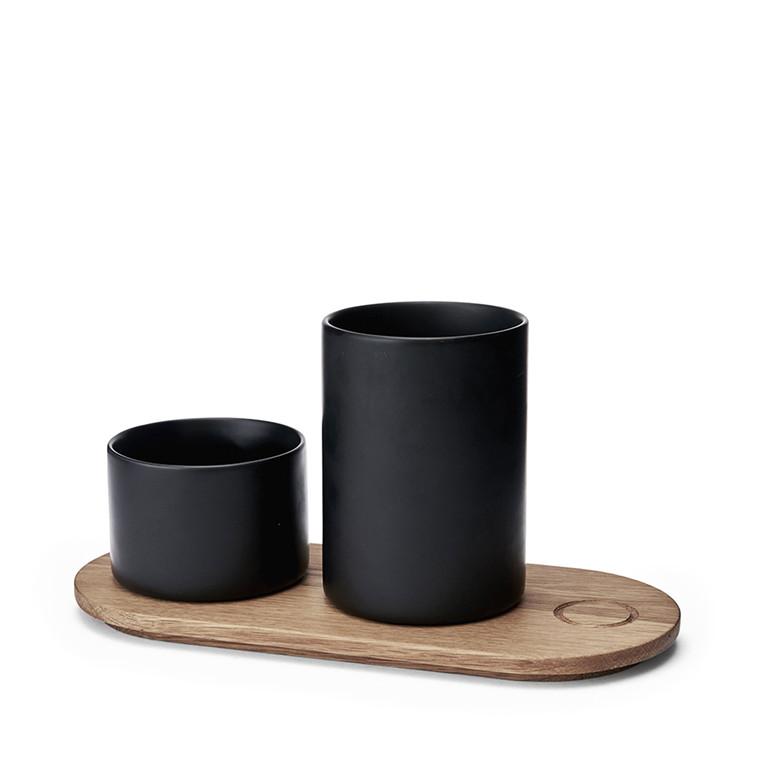 MORSØ Træbakke m. 2 krukker Kit sort