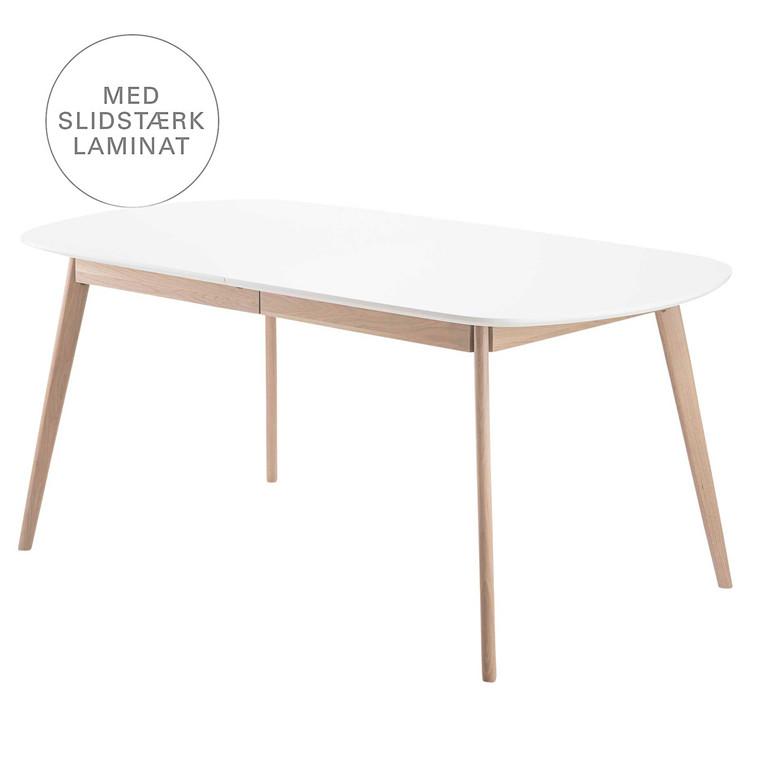 BLOOM spisebord i laminat med udtræk hvid L 175-215 x B 90 cm