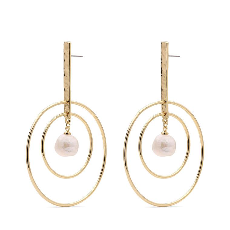 Pilgrim Earrings Ama1 Gold Plated Whit