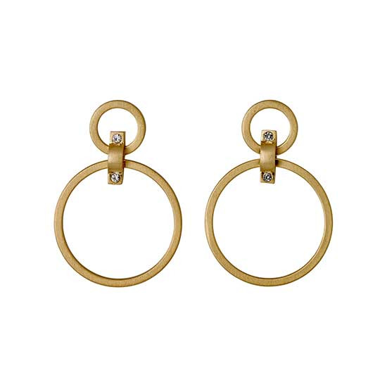 PILGRIM øreringe, guld belagt, hvid