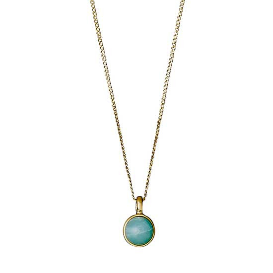 PILGRIM halskæde, guld belagt grøn