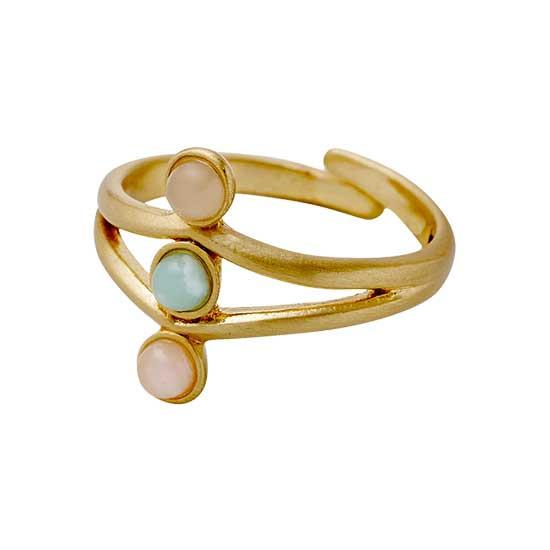 PILGRIM ring, guld belagt grøn