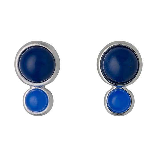 PILGRIM øreringe, sølv belagt, blå