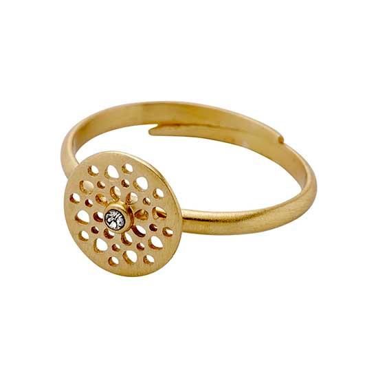 PILGRIM ring, guld belagt krystal