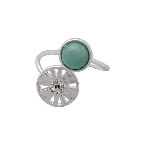 PILGRIM ring, sølv belagt grøn