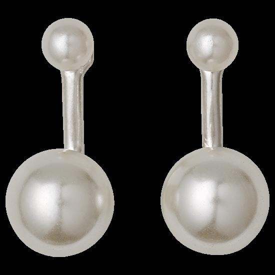 PILGRIM øreringe,  sølv belagt hvid