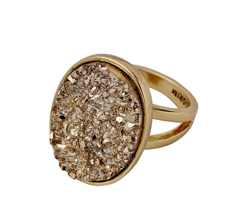 PILGRIM ring, guld belagt, krystal