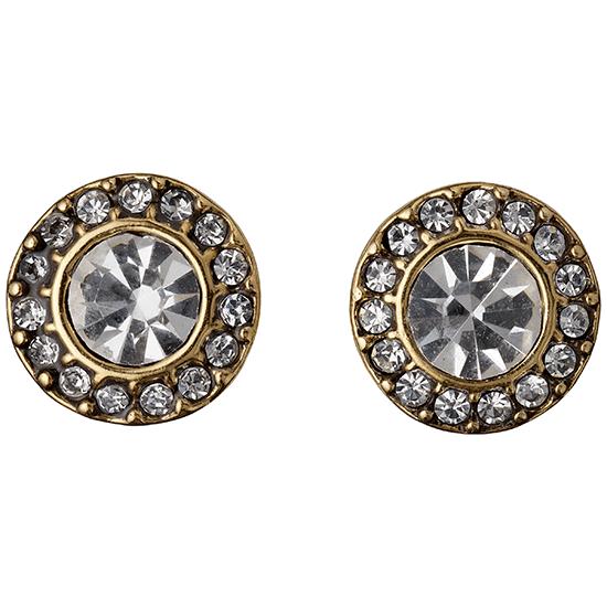 PILGRIM øreringe, guld belagt, krystal