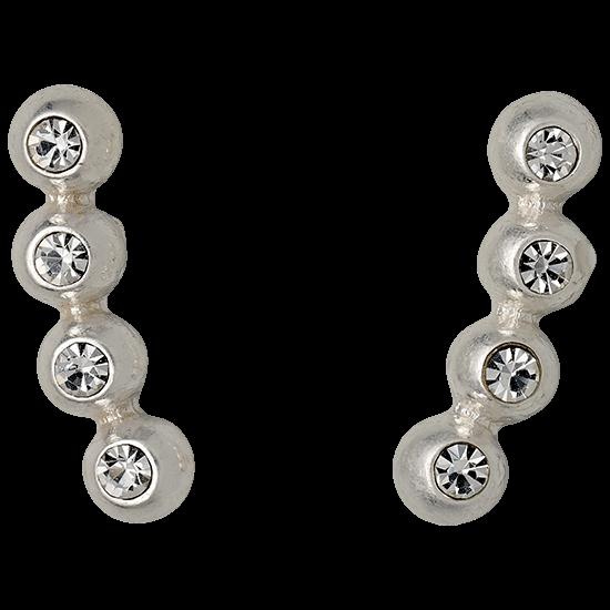 PILGRIM øreringe, silver plated, kryst