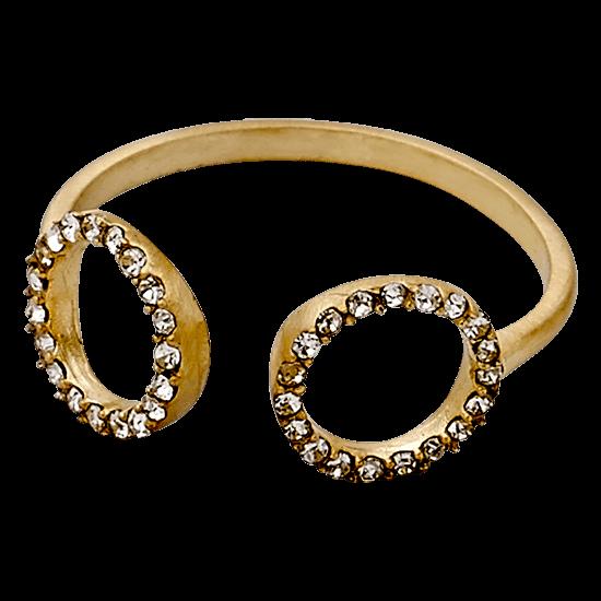 PILGRIM ring, guld belagt adjustable,