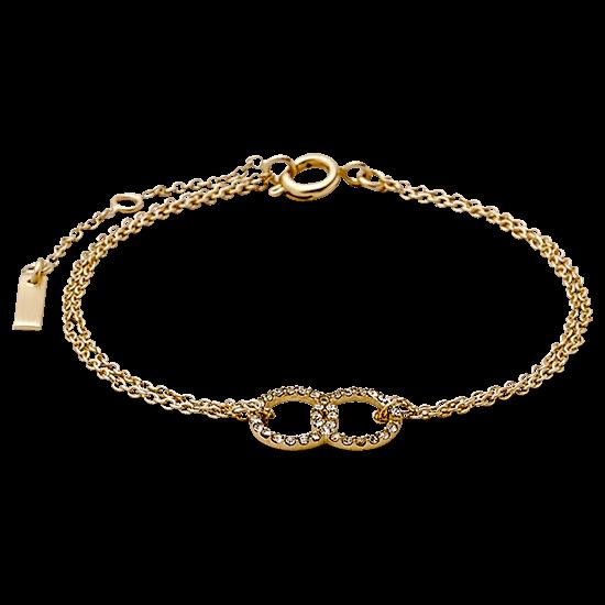 PILGRIM armbånd, guld belagt, krystal