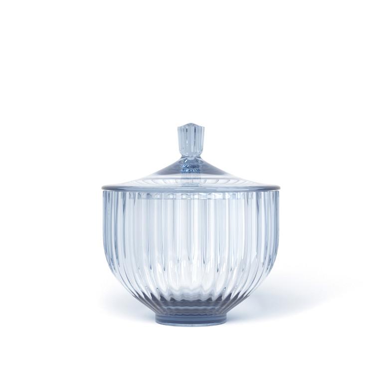 LYNGBY PORCELÆN Bonbonniere i glas ø 10 cm blå
